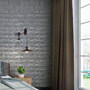 Set 5 x Tapet adeziv caramida gri, 77 x 70 cm, spuma moale 3D