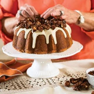 Sweet Potato Bundt Cake with Cream Cheese Swirl and Maple Glaze.