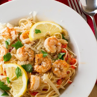 Pasta with Creamy Roasted Red Pepper Sauce and Seared Shrimp