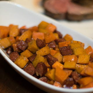 Brown Sugar and Maple Syrup Sweet Potatoes with Andouille Sausage.