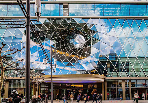 Germany-Frankfurt-Zeil - Frankfurt's main shopping street Zeil features unusual architecture.