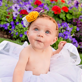 UMM??? by Amber Welch - Babies & Children Babies ( tutu, headband, blue eyes, baby, toddler, flowers, garden )