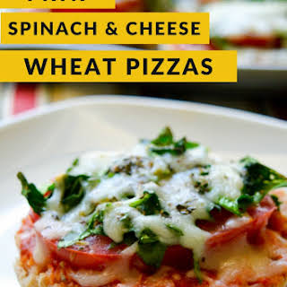 Mini Spinach and Cheese Wheat Pizzas.