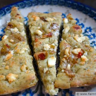 Arugula Pesto Focaccia with Artichokes, Feta, Goat Cheese and Green Olives (Pizza Night!)