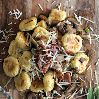 Toasted Gnocchi with Sautéed Mushrooms, Crispy Bacon and Caramelized Spring Onions.