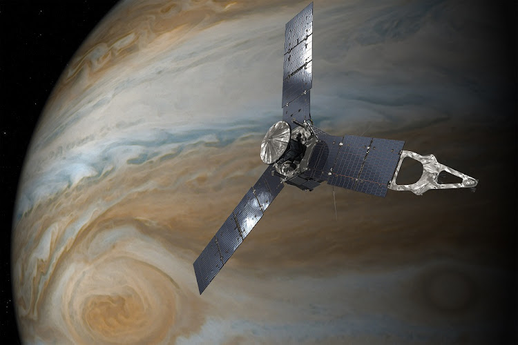 This illustration depicts NASA's Juno spacecraft in orbit above Jupiter's Great Red Spot.