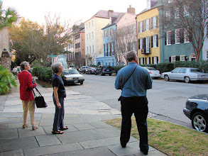 Photo: Elinor, Maxine, Gordon on Rainbow Row in Charleston's historic district