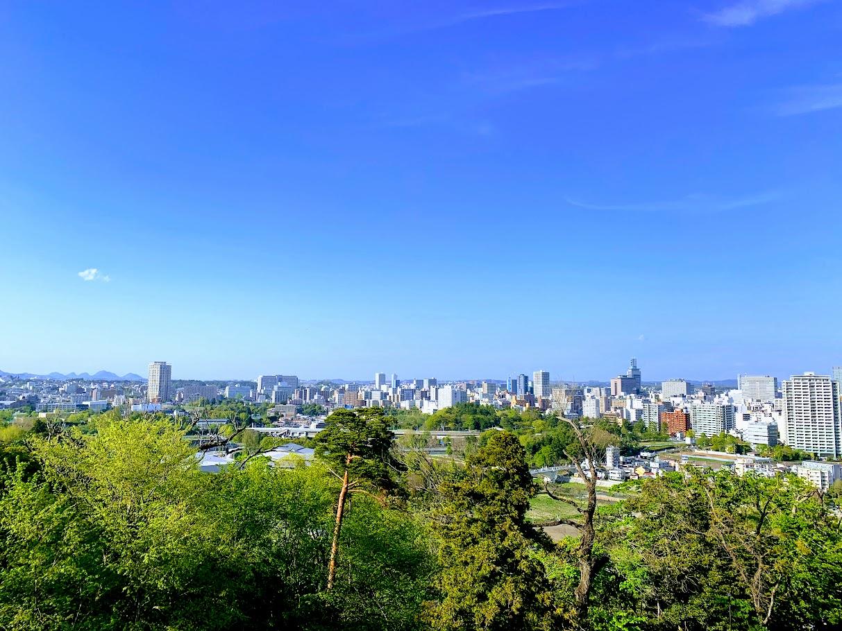 仙台城から見た仙台市内