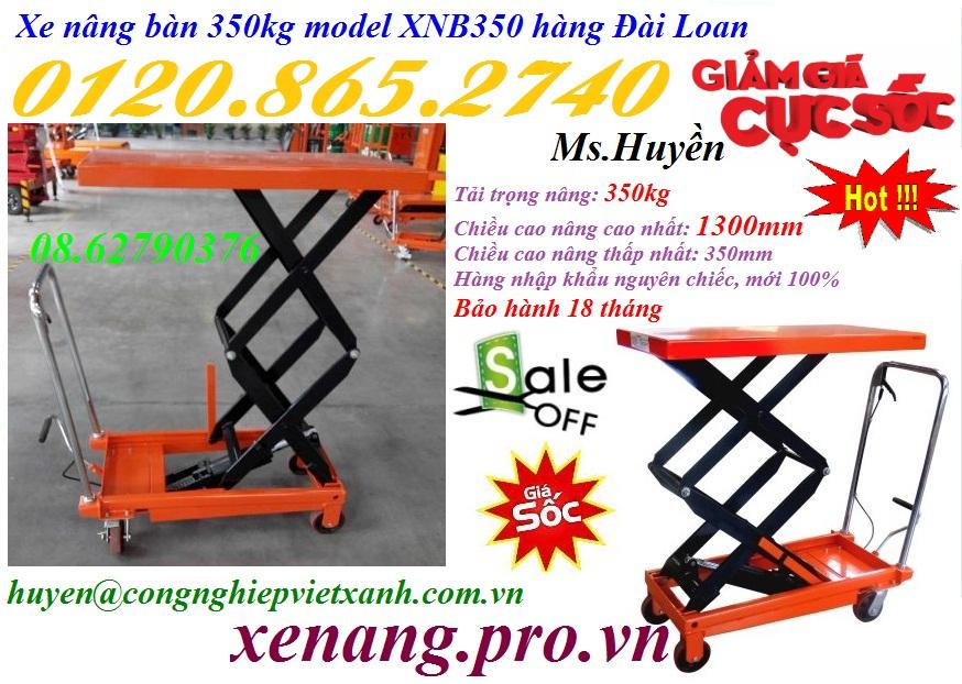 Xe nâng bàn 350kg nâng cao 1300mm Model XNB350