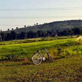 nature with an object by Deependra Bapna - Landscapes Mountains & Hills ( cycle, hill, tower, green )