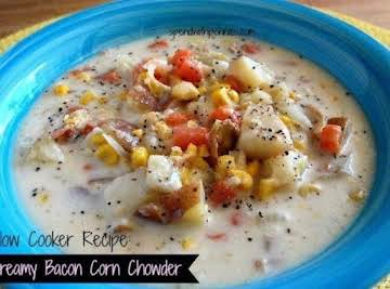Creamy Bacon Corn Chowder - Slow Cooker