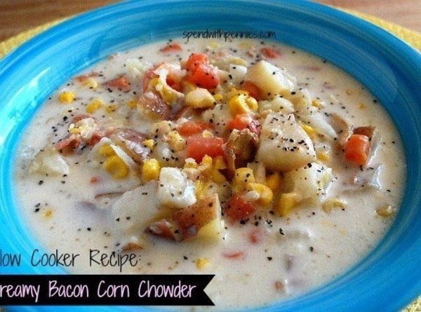 Creamy Bacon Corn Chowder - Slow Cooker Recipe