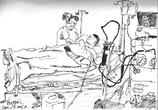 Photo: 洗腎2010.12.14鋼筆 今天帶一名收容人上醫院洗腎,讓我在回想起曽經在洗腎室工作三年的情形,而那卻已是十多年前的事了…