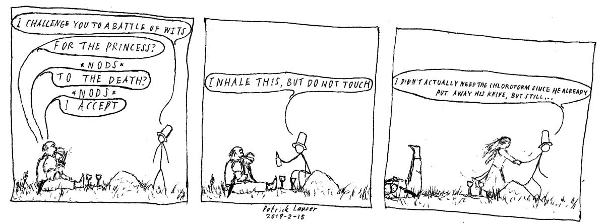 HANGMEN cartoon parody of Princess Bride Wesley vs Vizzini