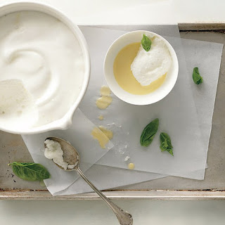 Lemon Snow Pudding with Basil Custard Sauce