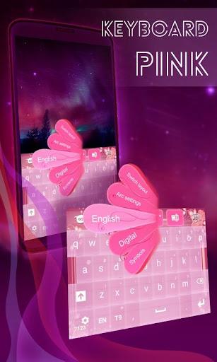 ピンクのキーボードのテーマローズ