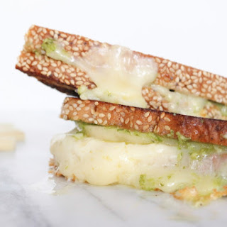 Grown Up Grilled Cheese with Pesto, Havarti, and Pears.