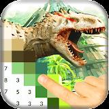 Color Pixel by Number: Jurassic Dinosaur Pixel Art