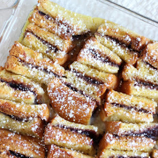 Peanut Butter and Jelly Bread Pudding.