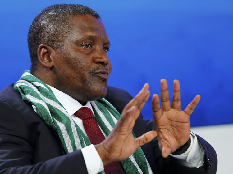 Aliko Dangote, CEO of Dangote Group, speaks during a session at the World Economic Forum meeting in Davos on Wednesday. Picture: REUTERS