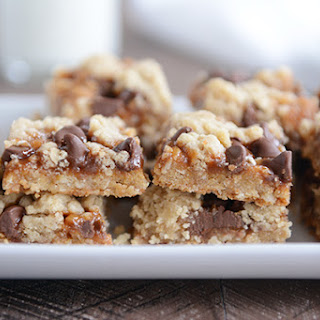 Chocolate Chip Caramel Cookie Bars.