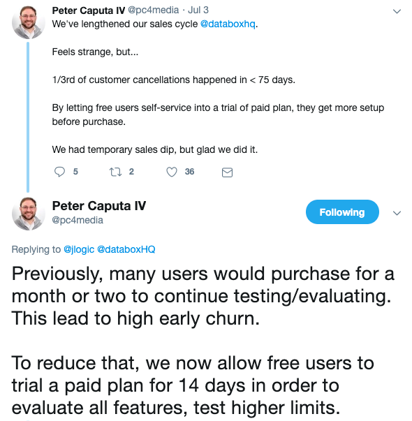 pete caputa tweet about premium plan trials