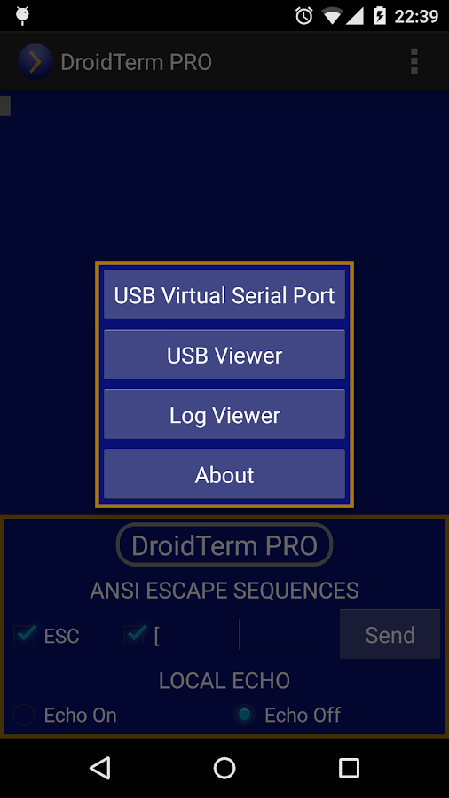 DroidTerm PRO: USB Serial Port- screenshot