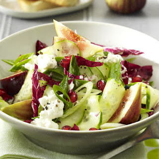 Unusual Cucumber Salad with Pomegranate seeds, Figs, Cottage cheese and Radicchio