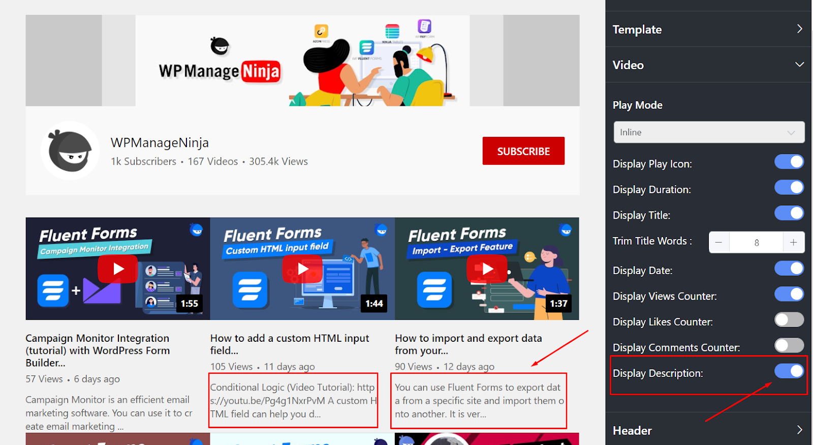 youtube settings display description