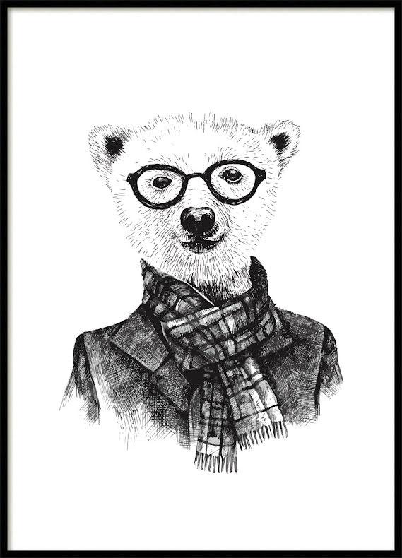 Hipster Bear Kids poster