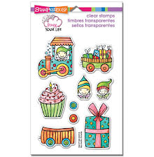Stampendous Pink Your Life Perfectly Clear Stamps 7.25X4.6 - Whisper Happy Wagon