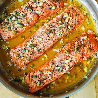 Trout (or Salmon) with Caper-Garlic Lemon Butter Sauce.