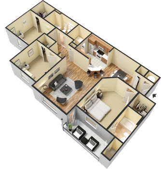 Go to Three Bed, Two Bath Floorplan page.