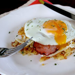 Potato Hash and Sunny Side Up Egg Breakfast