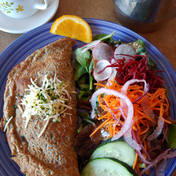 Breakfast crepe with salad. Quite filling and tasty