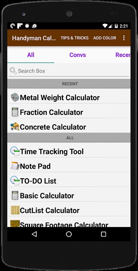 Home project calculator app