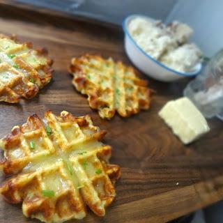 Mashed Potato, Cheddar, and Scallion Waffles