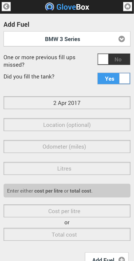 GloveBox: Gas & cost tracker- screenshot