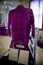 Photo: This wonderful handmade shirt was worn by composer Harry Partch. The detail and embroidery are fantastic, not to mention the color, which surprised me because I have only seen it in black and white photos. See more info here: http://archives.library.illinois.edu/archon/?p=digitallibrary/digitalcontent&id=7874