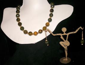 Photo: <BEREHYNYA> {Great Goddess Protectress} unique one-of-a-kind statement jewellery by Luba Bilash ART & ADORNMENT  #95 - STAR BIRTH ~ НАРОДЖЕННЯ ЗІРКИ - faceted fire agate; 14K gold vermeil $200/set  N/A -не в наявності