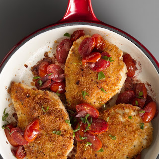 Pan-Roasted Chicken with Fresh Tomato Sauce.