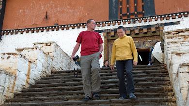 Photo: Christina & Ralf beim Verlassen des Dzongs