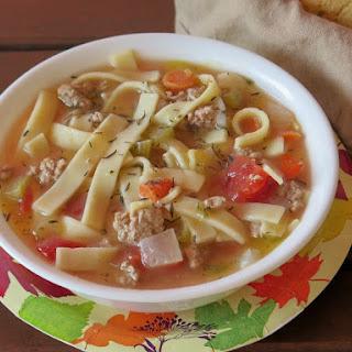 Ground Turkey Noodle Soup #RecipeR