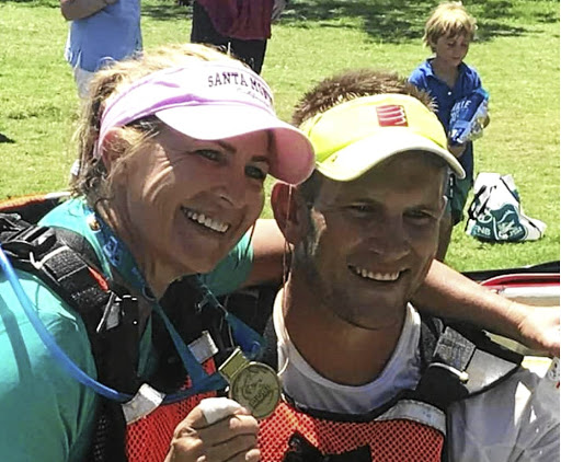 Rapid action: Stefan Rautenbach, right, was paddling with Ilse van Rensburg when he went to the rescue of Kerry-Ann Lyne during last weekend's Dusi Canoe Marathon. Picture: GAMEPLAN MEDIA