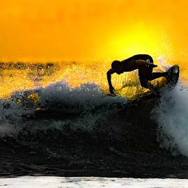 Surf's Up at Sun Down by Ed Mullins - Sports & Fitness Surfing ( imperial beach, surfing, sunset )