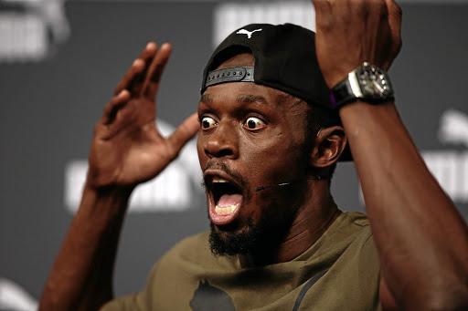Jamaican sprinter Usain Bolt gives a characteristically animated press conference ahead of the world championships, in London on August 1 2017. Picture: REUTERS
