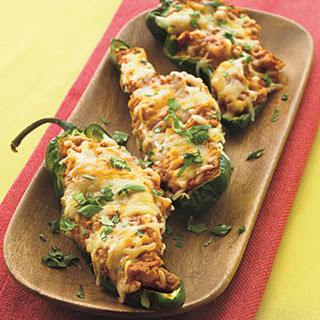 Refried Bean Poblanos with Cheese.