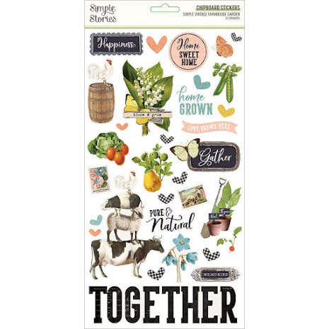 Simple Stories Chipboard Stickers 6X12 - SV Farmhouse Garden