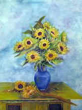 Photo: Sunflowers and Blue Vase by Loretta Luglio