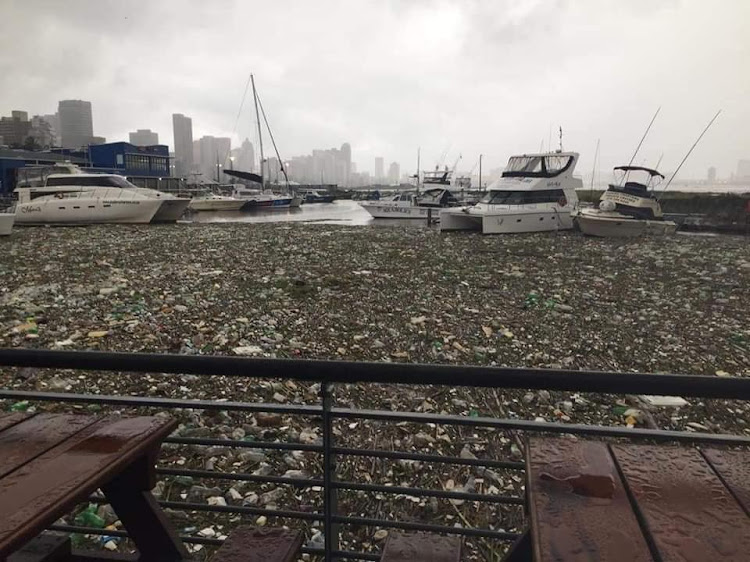 Plastic pollution at Durban Harbour after torrential rains.